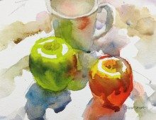 Still Life with Mug and Two Apples