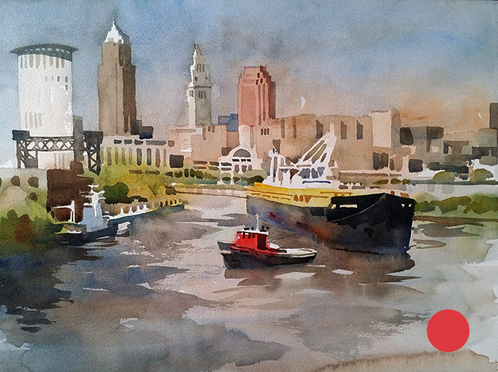 Watercolor of boat on Cuyahoga River