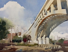 Watercolor of the Detroit Superior Bridge, Cleveland, OH