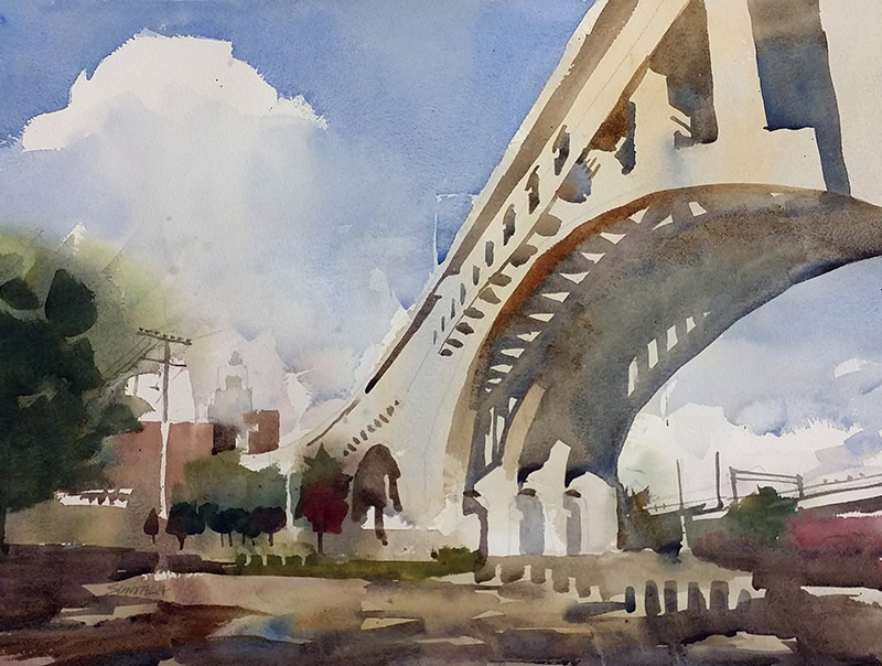 Cleveland Watercolor of Detroit Superior Bridge
