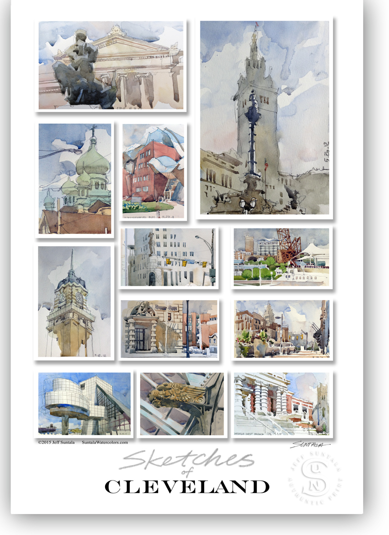13x19 print with sketches of Cleveland 1