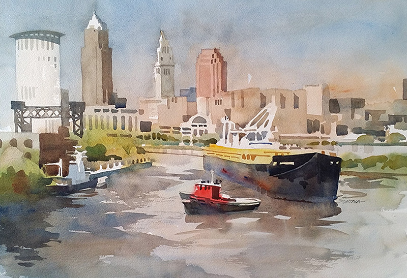 Cuyahoga River with Cleveland Skyline