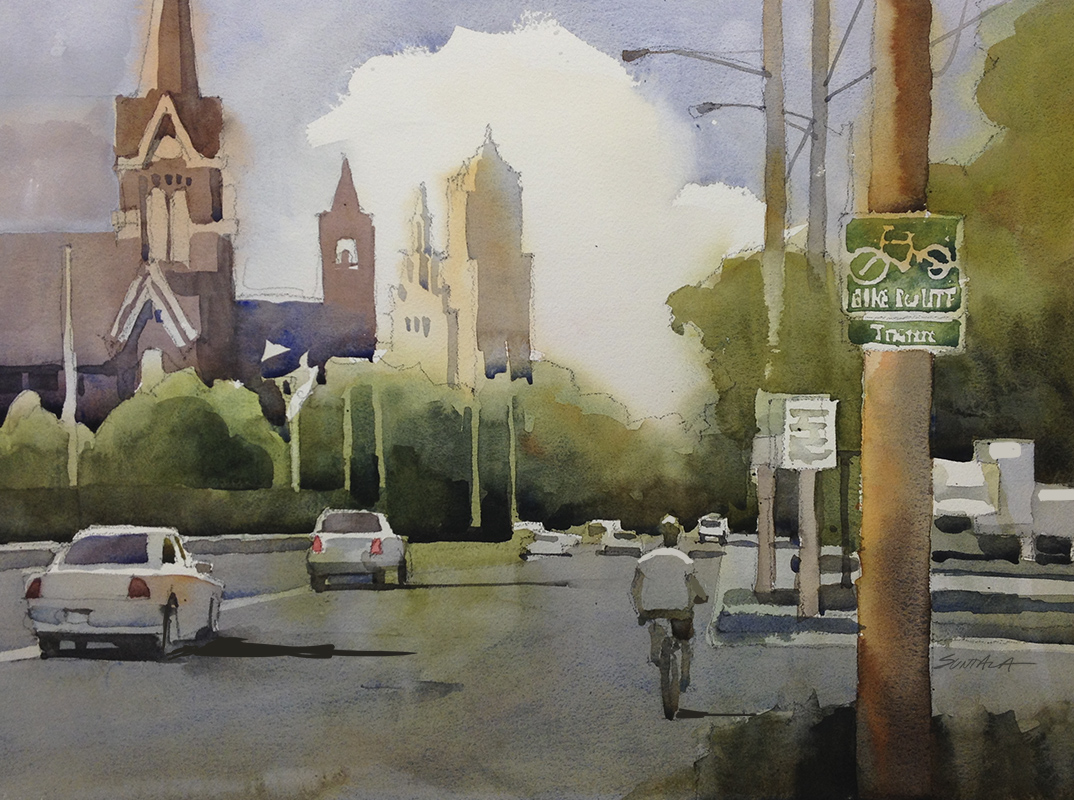 Watercolor of W. 14th street looking north