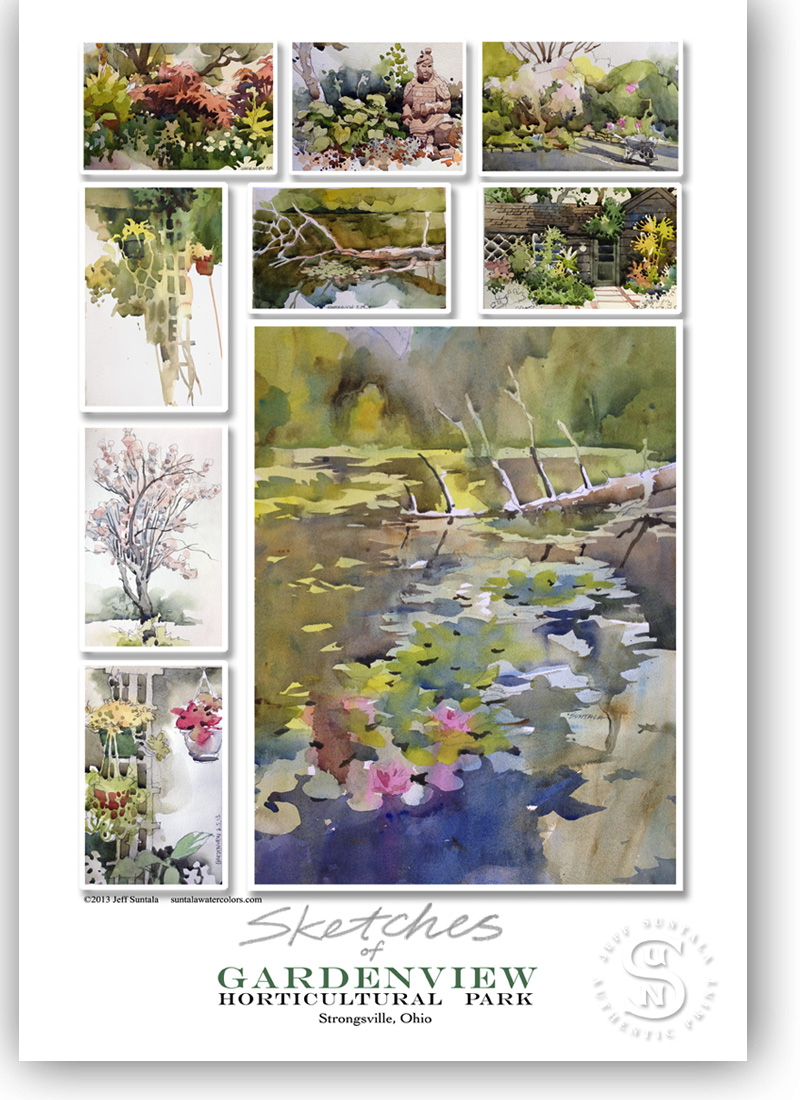 13x19 print of sketches of Gardenview