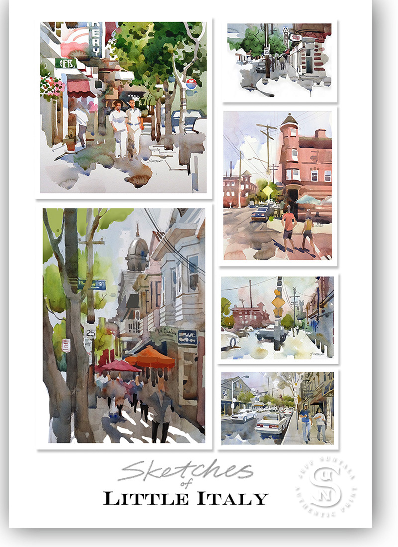 Print featuring sketches of Little Italy