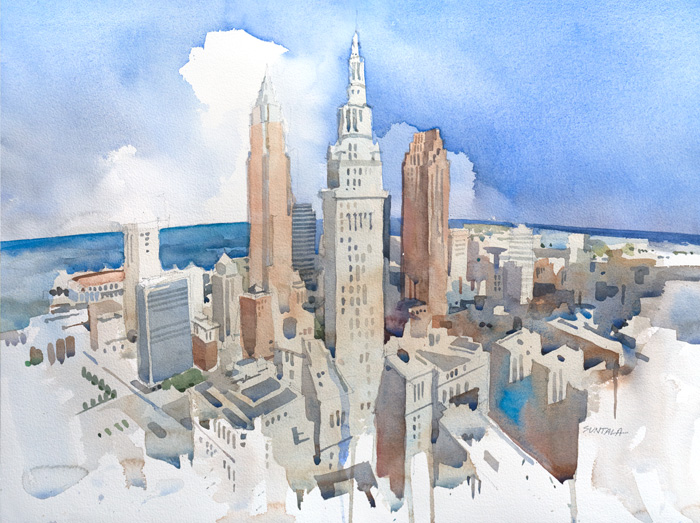18x24 Original watercolor painting of Cleveland skyline.