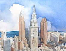 thumbnail of watercolor of Cleveland Skyline