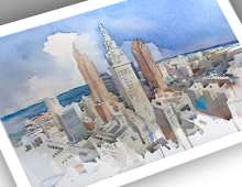 thumbnail of 13x19 print of cleveland skyline watercolor