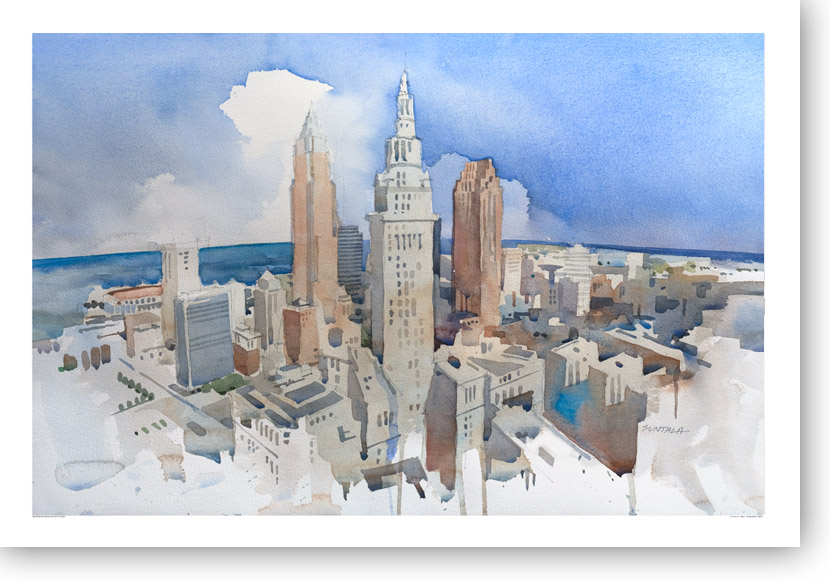 Cleveland Skyline watercolor print.