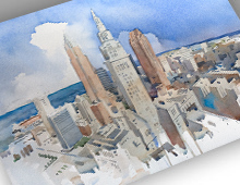 thumbnail of cleveland skyline watercolor print