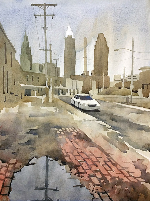 Watercolor of Canal St, Cleveland Flats