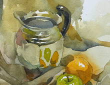 Still Life With Chrome Pitcher and Fruit 1