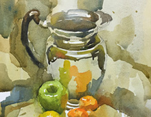 Still Life With Chrome Pitcher and Fruit 2