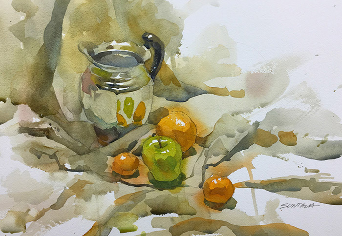 Still Life watercolor painting with chrome pitcher and fruit