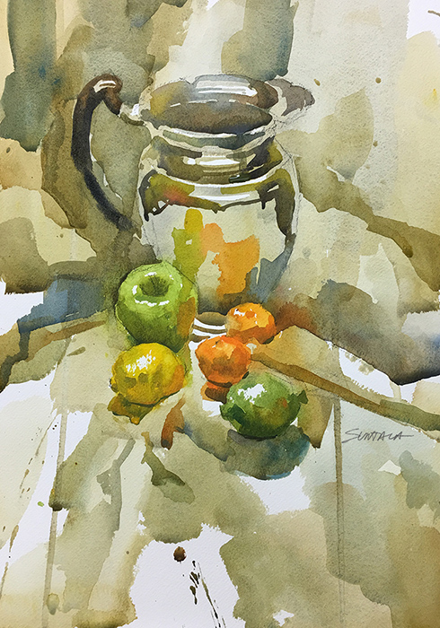 Still Life watercolor of Chrome Pitcher and Fruit